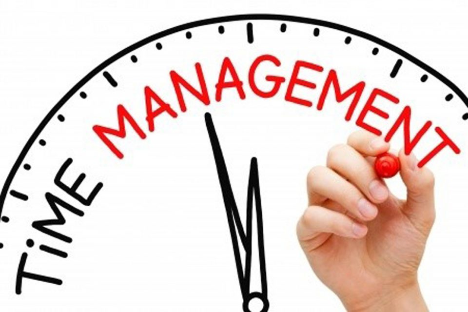 graphic of clock with the words: time management